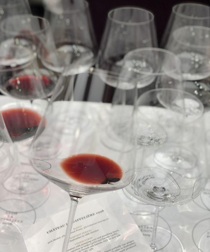 A wine glass filled with Château La Gaffelière