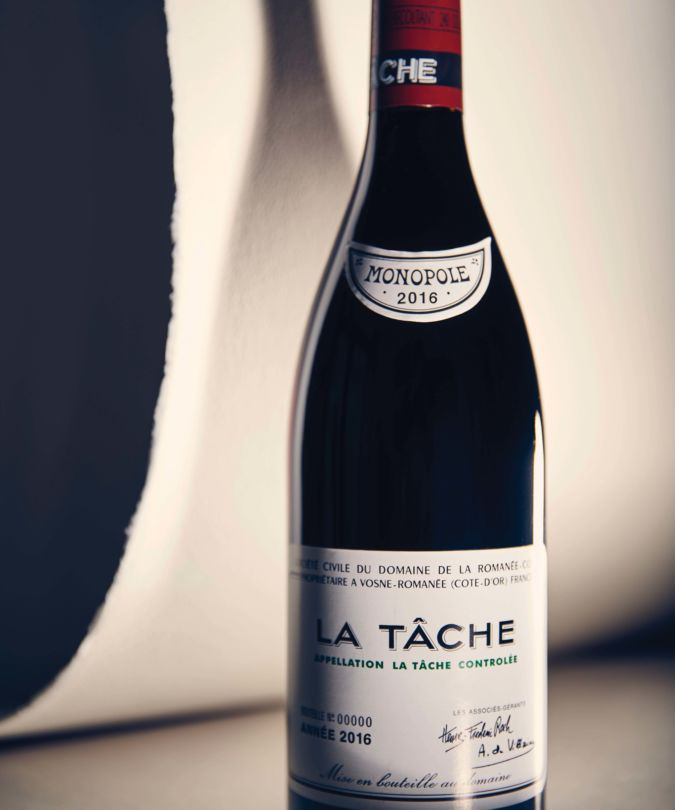 A bottle of La Tâche Romanée-Conti