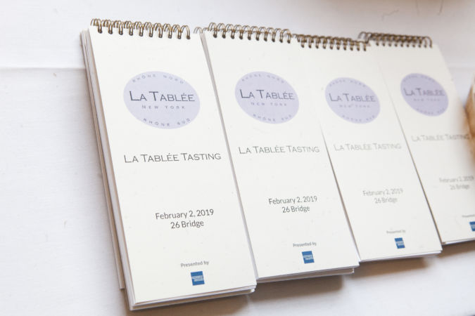 Wine tasting booklet at La Tablée New York
