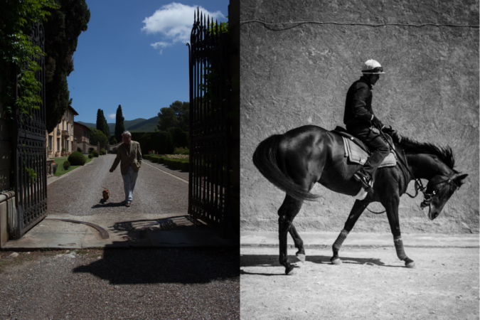The Marchese walking a dog companion; a rider on one of the estate's racehorses