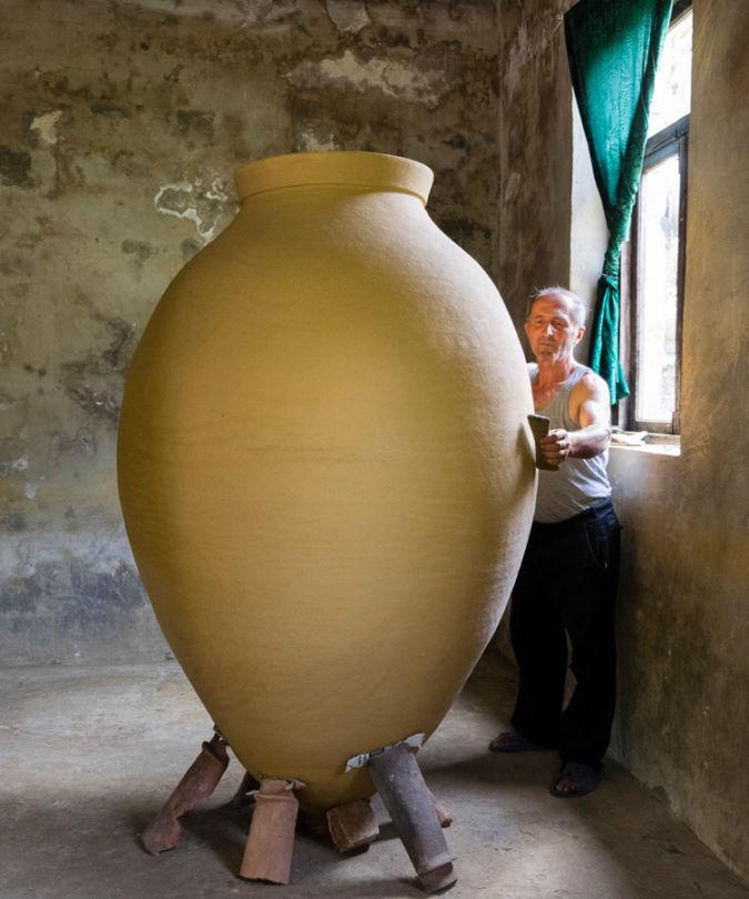 Zaliko Bodjadze working on a giant kvevri