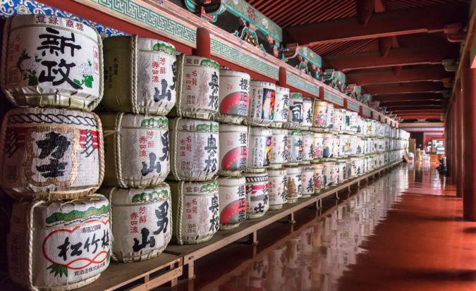 Decorative sake bottles found in Shinto shrines