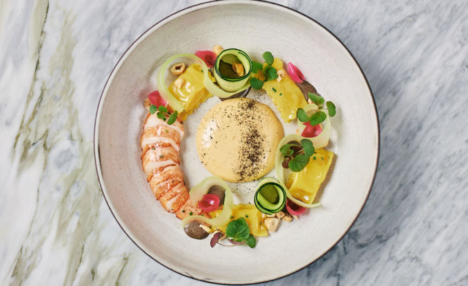 Lobster tail with squash and mushroom agnolotti at Hawksworth Restaurant