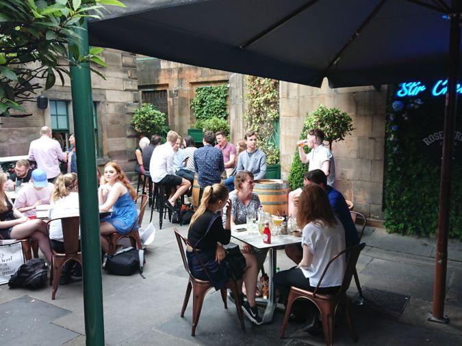 Rose Street Garden gin bar in Edinburgh, Scotland