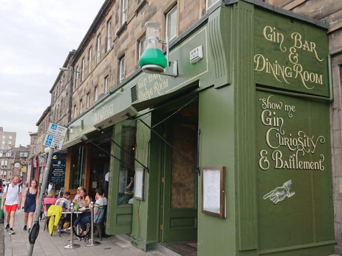 The Jolly Botanist gin bar in Edinburgh, Scotland