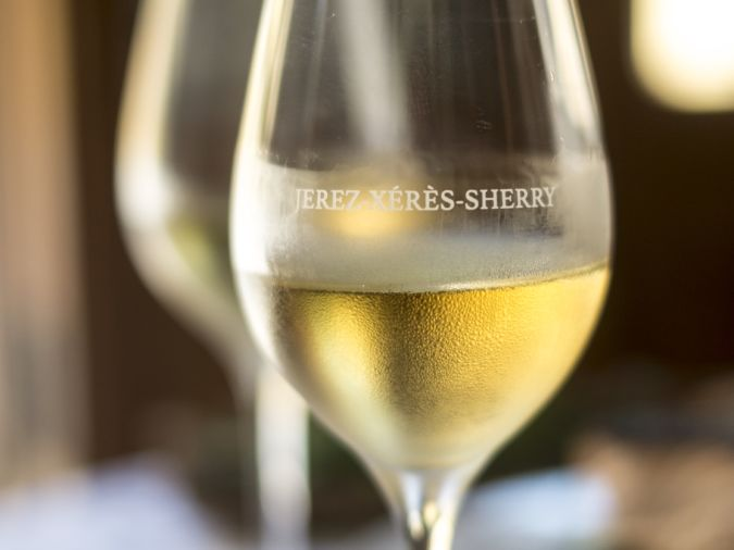 A glass of chilled Sherry
