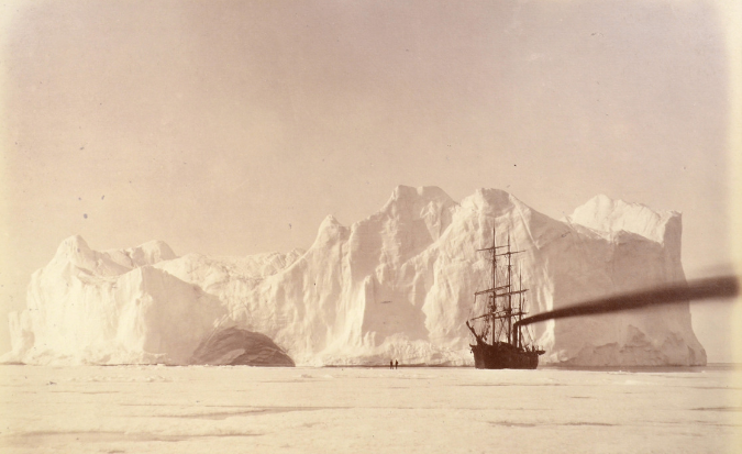 A mounted photograph from Bradford's last trip to Labrador and Greenland