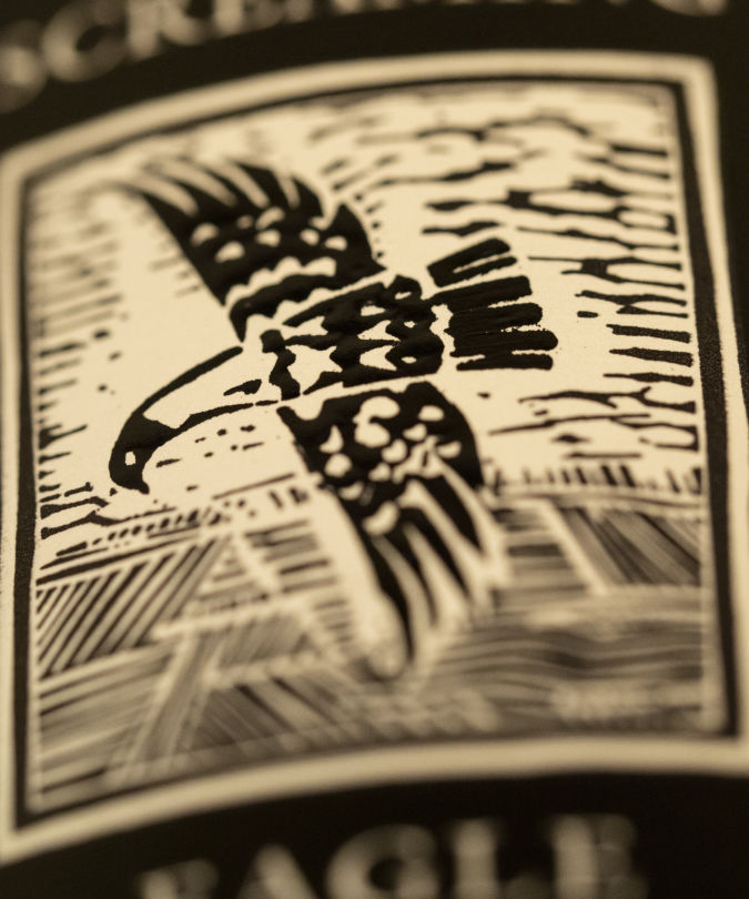 Close-up of a Screaming Eagle wine label