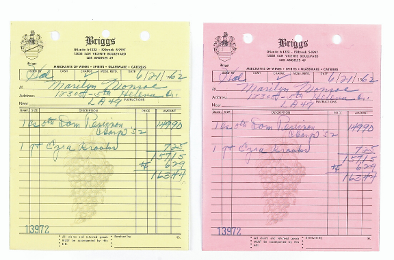 Marilyn Monroe's receipt from June 1962 for a case of Dom Pérignon Champagne