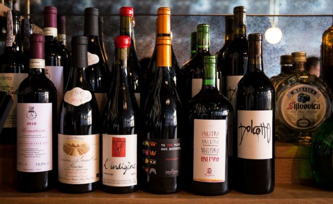 Wines at Dame wine bar in Oregon. Photography by Carly E. Diaz