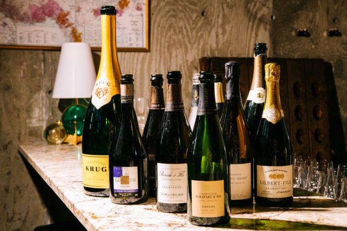 Open bottles at Ambonnay wine bar in Portland, Oregon