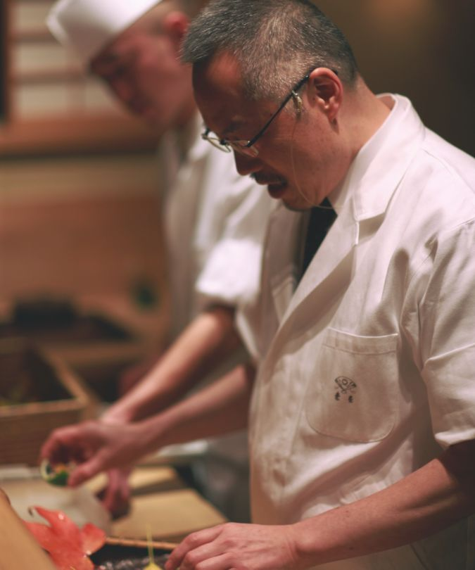 Chef Hitoshi Ishihara at Mizai in Kyoto, Japan