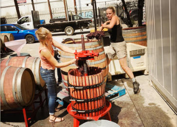 People working at Los Angeles River Company winery