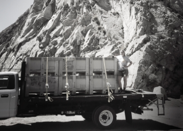 Los Angeles River Company truck carrying goods