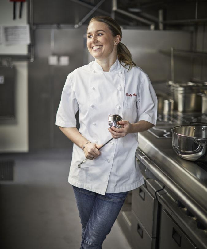 Chef Emily Roux in her restaurant kitchen