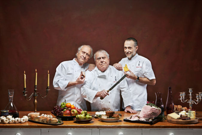 The first two generations of the Roux gastronomic dynasty, Michel, Albert and Michel Jr