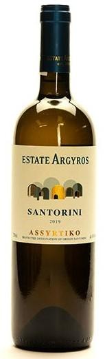 a bottle of Estate Argyros assyrtiko wine