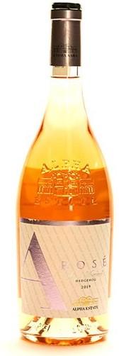 a bottle of alpha estate rose wine