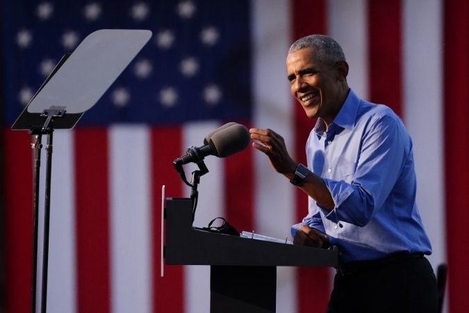 Barack Obama at the lectern