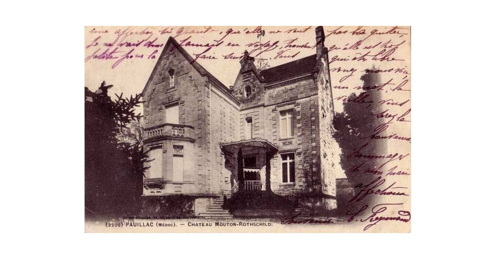 A postcard of the old Victorian Petit Mouton chateau