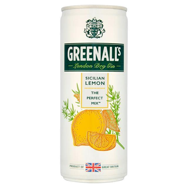 A can of Greenall's Sicilian Lemon G&T