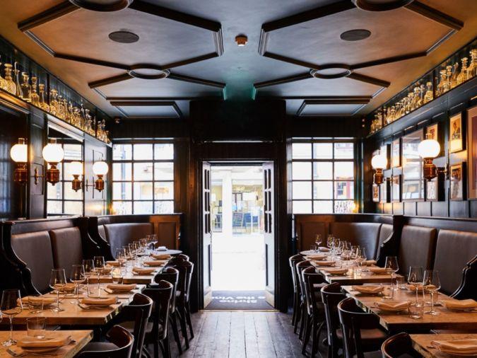 The interior of Noble Rot Soho's restaurant