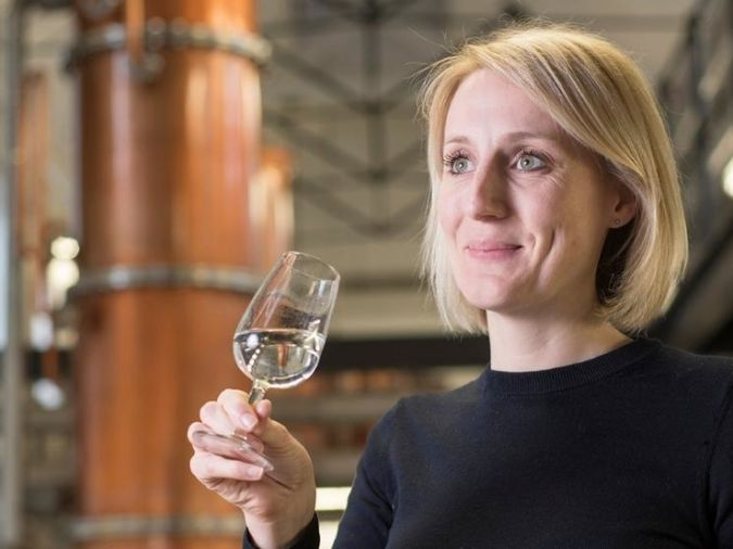 Anne Brock in the distillery