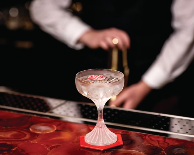 Cocktail at the Baccarat Bar in Harrods