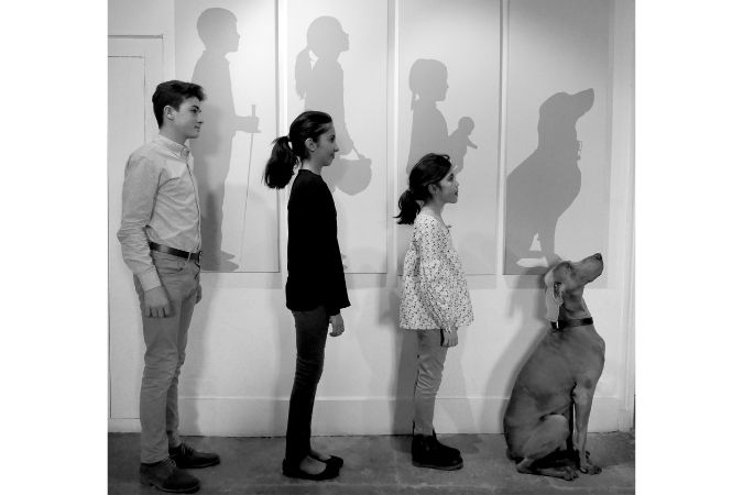 Henry, Brune and Pia and Arak the dog