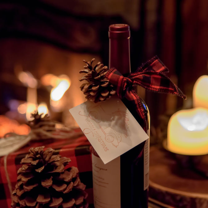 Wine bottle gifts and cozy fireplace