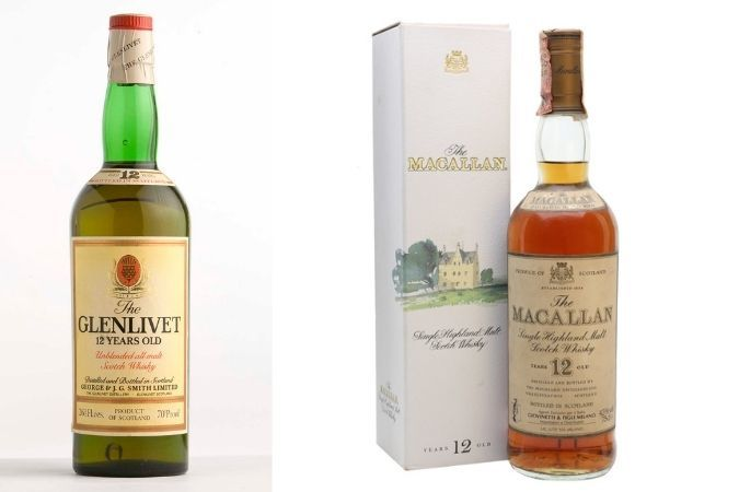 1980s whisky – Glenlivet 12 Year Old and The Macallan 12 Year Old