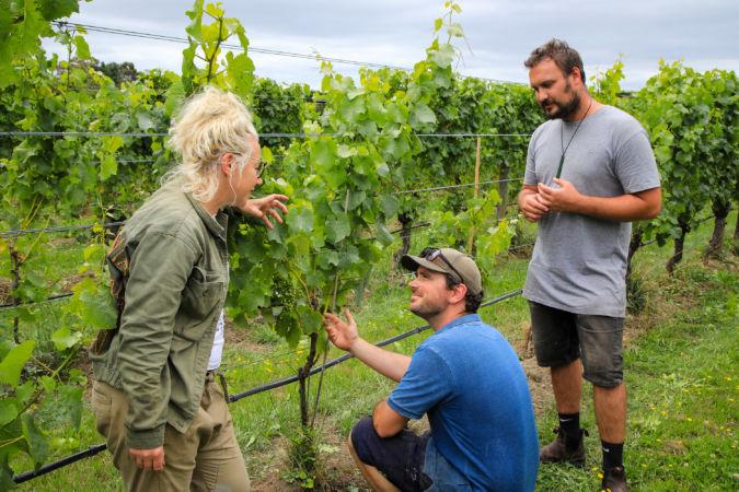 Helen Masters with Braden Crosby -Vineyard Manager and Ben Trinick Assistant Winemaker