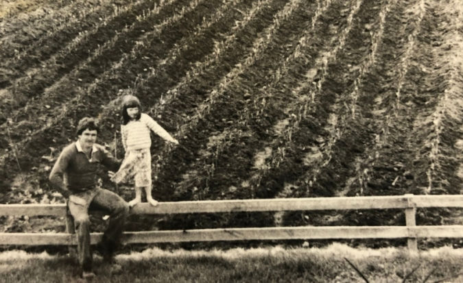 Ata Rangi founder Clive and his daughter Ness visiting the vine nursery in 1980