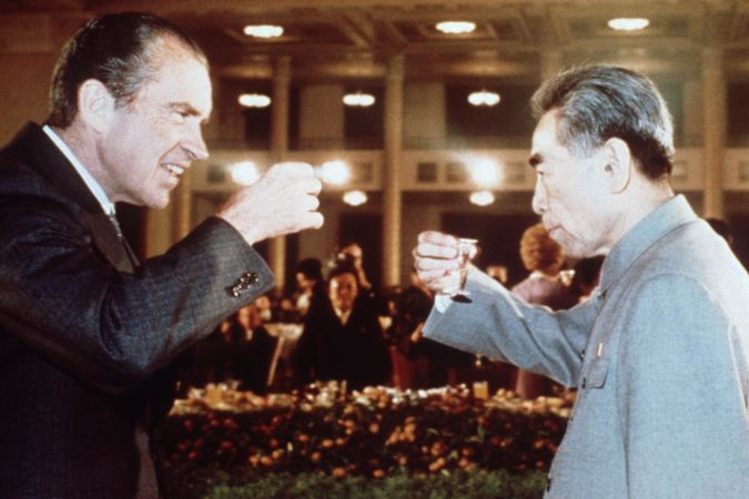 US president Richard Nixon toasts with Chinese Prime Minister, Chou En Lai in Beijing 1972