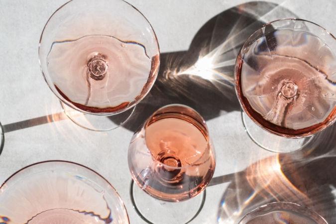 rosé wine in glasses