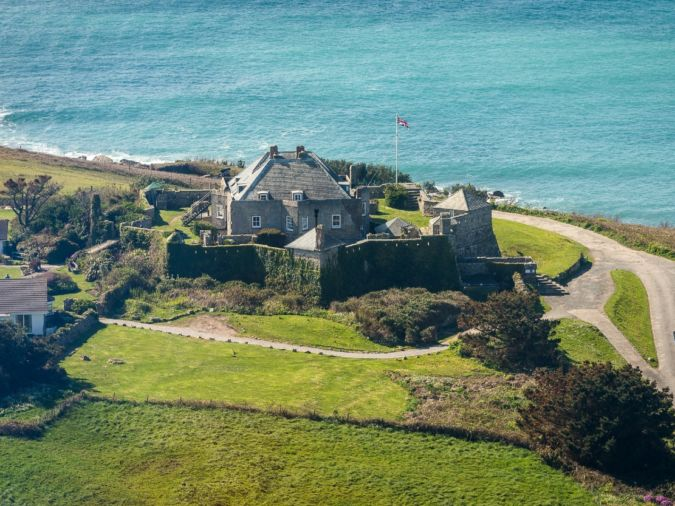 Aerial view of Star Castle Hotel in the Scilly Isles