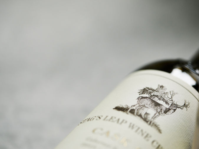 close up photo of a bottle of Stag's Leap wine