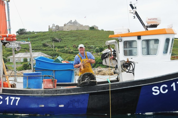 Robert Francis catching lobsters in Scilly Isles