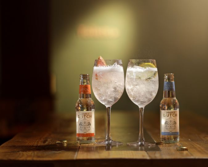 Gin and tonics made with Double Dutch mixers