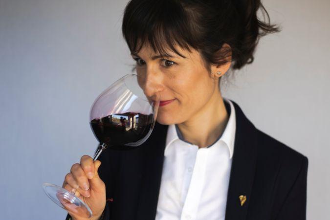 sommelier Julie Dupuoy tasting red wine