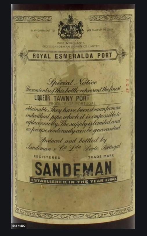 sandeman royal esmerelda tawny port label