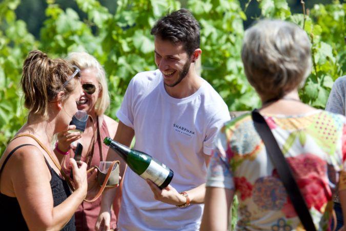 tour guide at sharpham wine estate