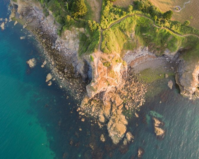 an aerial view of Torquay's coastline in the English Riviera