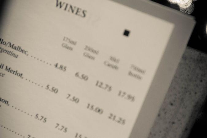 restaurant wine list