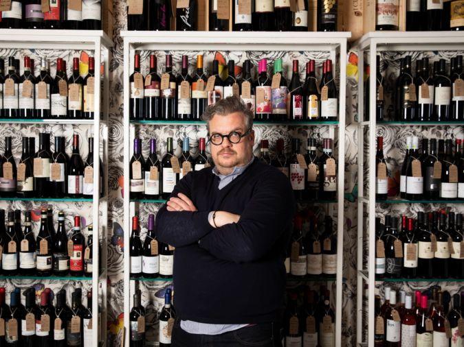 Luca at Passione Vino wine shop in Shoreditch