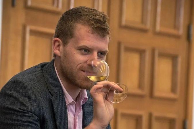 Lime Wood sommelier Chris Parker tasting white wine