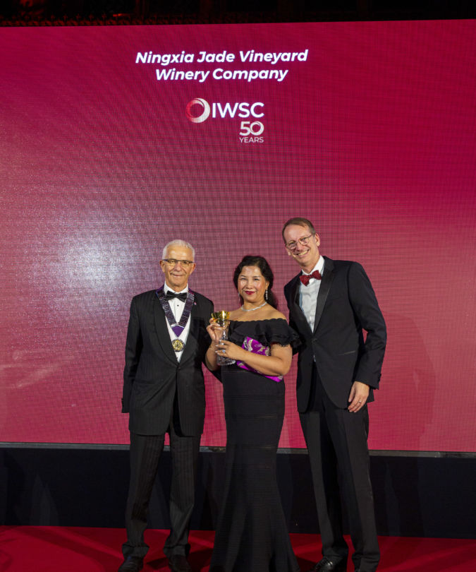 Emma Ding of Jade Vineyard at the IWSC awards ceremony 2019