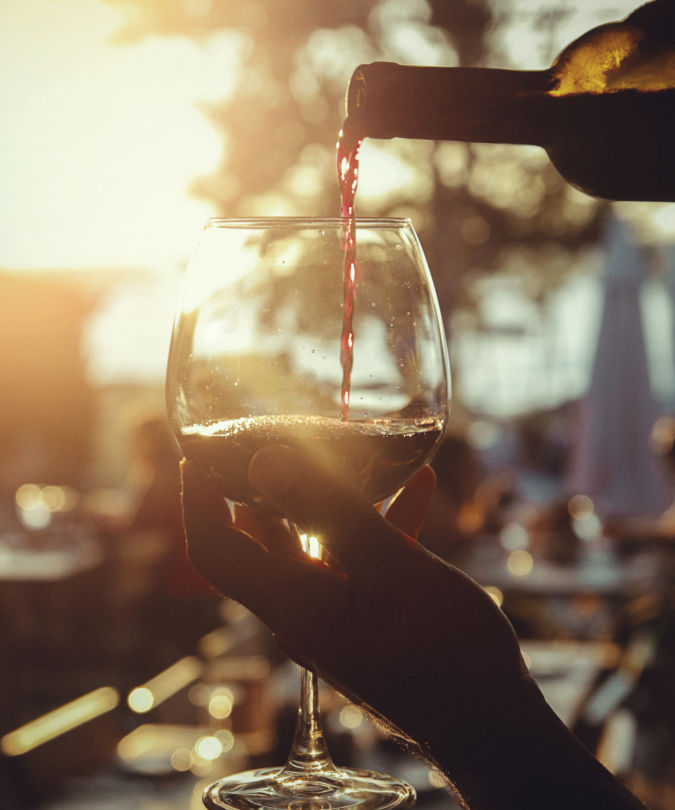 wine filling and sunset