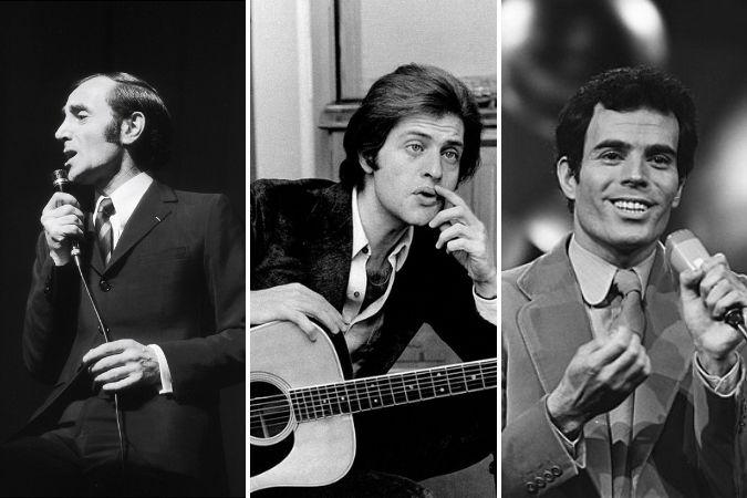 Singers Charles Aznavour, Joe Dassin and Julio Iglesias