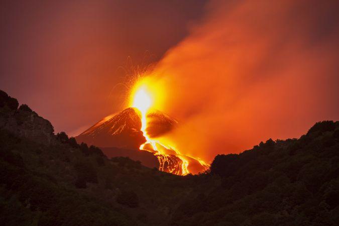 Mount Etna volcano errupting